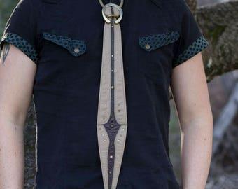 Leather Tie | Gladius Tie | Sand & Brown Floral | OSFA | Brass | Leather Tie Collar | Unisex Tie | Steampunk Tie | Burning Man | IN STOCK