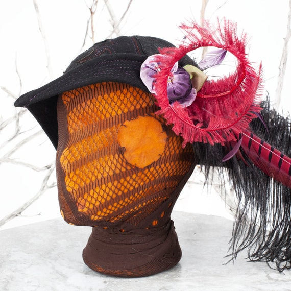 """Vintage Hat, Upcycled Hat, Felt Hat, Wool Felt, Size 21-21.5"""" head, Pirate Hat, Tricorn, Pirate Costume, Silk Flower, Feathers, Tricorn Hat"""