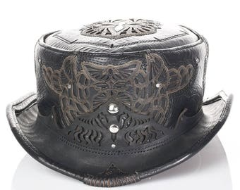 Leather Top Hat | Daunting & Dapper Short Top Hat | Black Alligator Print Leather | Silver | Adjustable Size | Burning Man | CUSTOM MADE