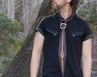 Leather Tie | Gladius Tie | Dark Brown Floral & Metallic Bronze | OSFA | Tarnished Brass | Leather Tie Collar | Steampunk Tie | IN STOCK