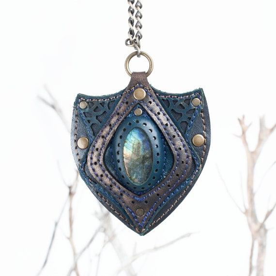 Evil Eye Necklace, Moonstone Pendant, Gemstone Pendant, Leather Pendant, Leather Amulet, Labradorite Amulet, Gift for Her, Leather Necklace