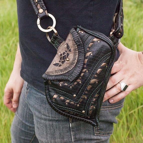 Corvidae Leather Sling Bag | Shoulder Bag | Pocket Belt | Hip Belt | Black | Bronze | Burning Man | Bandolier | Utility Belt | Custom Made