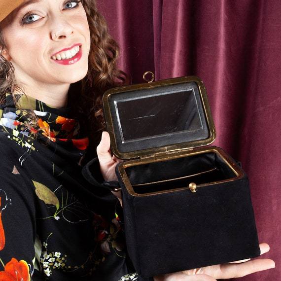 1940s, Black Velvet Box Purse, Box Purse, Vintage