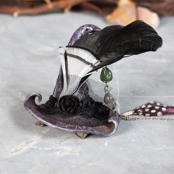 Leather Witch Hat | Tiny Witch Hat | Witch Hat Fascinator | Witch Barrette | Samhain | Feathers | Silvery Lavender | Wire Wrapped Gemstones