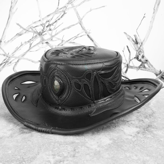 Cowboy Hat, Pirate Hat, Tricorn, Bucaneer, Leather Hat, Pirate, Pirate Hat, Festival Hat, Leather Tricorn, Steampunk Hat, Tricorn Hat, Hat