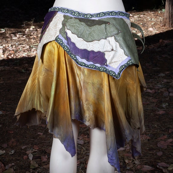 Leather Skirt | Starfire Skirt Belt | Hand Dyed Silk | Lace | Copper | Brass | Faerie | Pixie | Elven | Steampunk | Festival Belt | S/M