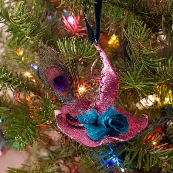 Handsewn Ornament | Leather Witch Hat | Witch Hat Ornament | Christmas Ornament | Solstice Tree | Witch Decor | Yule Decorations | Yuletide