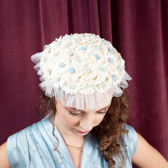 1940's, Daisy Vintage Doll Hat, White & Blue Hat,
