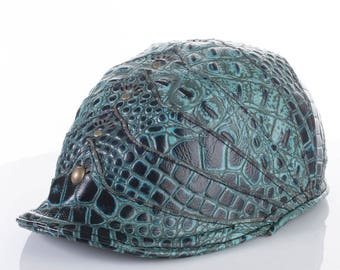 """Leather Newsboy Cap 