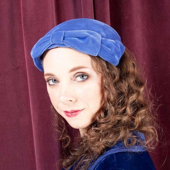 1940's, Periwinkle Blue Vintage Doll Hat, Blue Hat