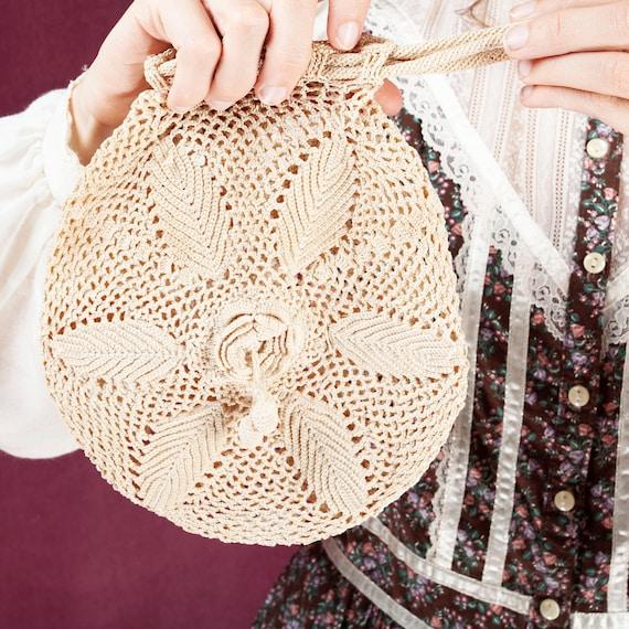 1920s Vintage Crochet Wristlet, Crochet Bag, 1920s