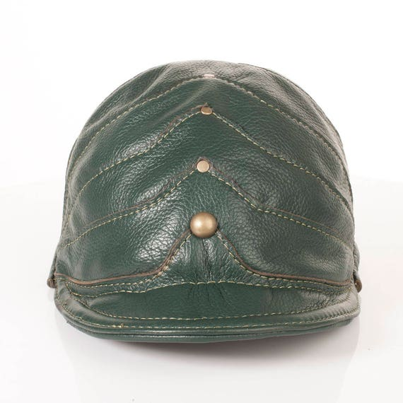 """Green Leather Newsboy Cap 