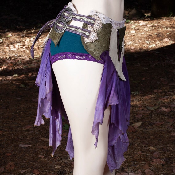 Leather Skirt | Starfire Skirt Belt | Hand Dyed Silk | Lace | Roses | Silver | Faerie | Pixie | Elven | Steampunk | Festival Belt | S/M