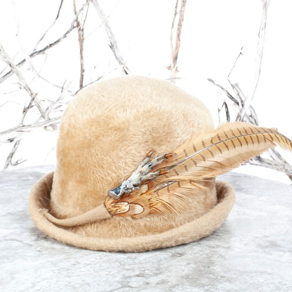 "Vintage Hat, Fur Felt Hat, Felt Bowler, Pheasant Feathers, Grouse Talon, Vintage Pin, Size 21-21.5"" head, Edwardian Ball, Made in Austria"
