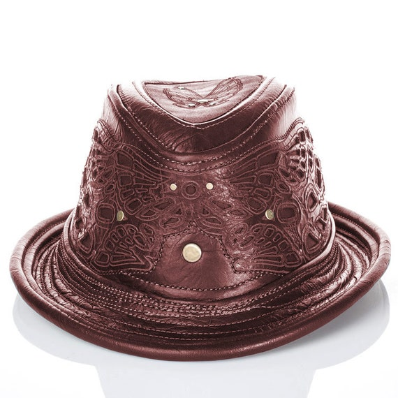 Leather, Leather Hat, Fedora Hat, Trilby, Trilby Fedora, Hat, Burning Man, Steampunk, Steampunk Hat, Brown Hat, Brown Leather, Vintage Hat