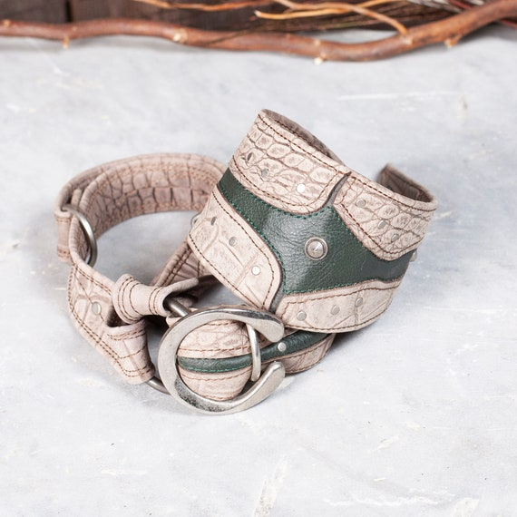 Leather Tie, Gladius Tie, Gray Crocodile Print & Forest Green, OS, Leather Collar, Unisex, Steampunk Tie, Swanky Menswear, Men's Fashion
