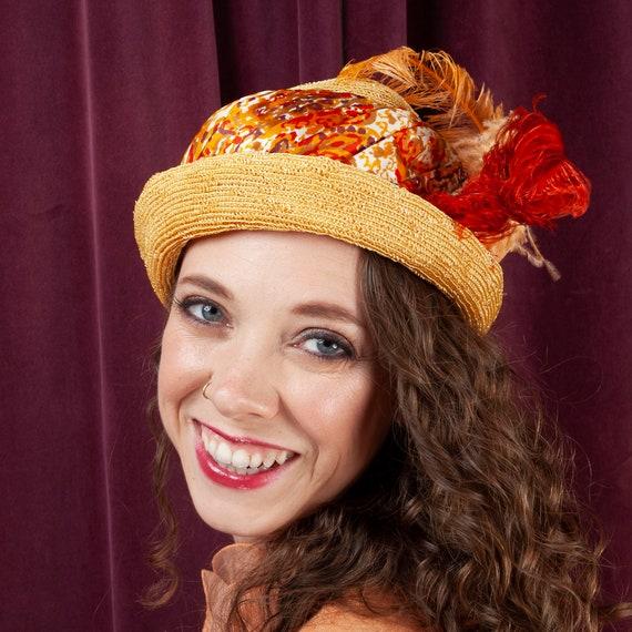 1930s, Vintage Straw Hat, 1930s Hat, Vintage Silk,