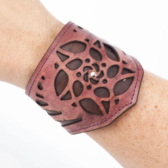 """Leather Bracelet, Arm Cuff, Leather Wristlet, Leather Wristband, Filigree Bracelet, Fits an 8"""" Wrist, Unisex Bracelet, Laser Cut Cuff"""