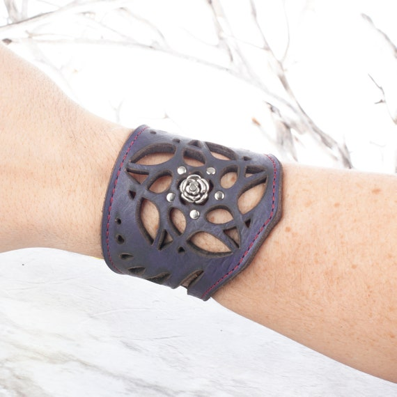 "Leather Bracelet, Arm Cuff, Leather Wristlet, Leather Wristband, Filigree Bracelet, 8"" Wrist, Unisex Bracelet, Laser Cut Cuff, Purple Cuff"