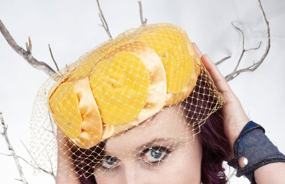 1950s, Vintage Hat, Yellow Hat, 1950s Hat, Pillbo… - image 2