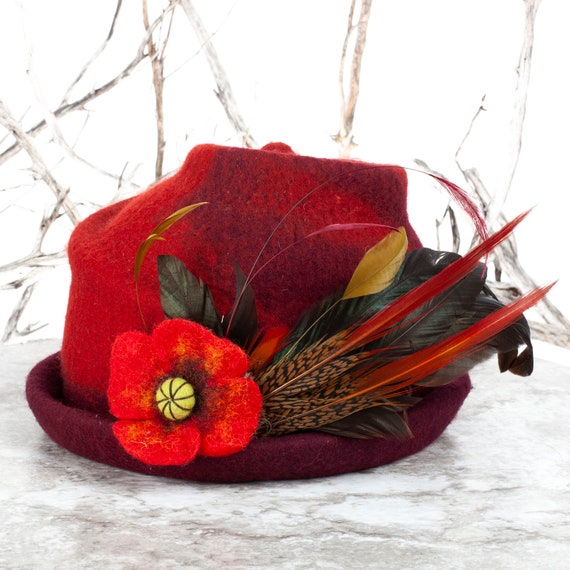 "Wool, Felt, Wool Felt Hat, Felt Flowers, Upcycled Hat, Wool Felt, Felted, Felt Hat, Felted Hat, Felted Art, Wet Felting, Hat, 21.5"" head"