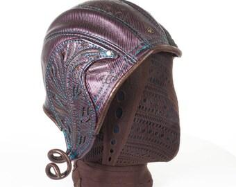 "Leather Aviator Hat | 1920's Cloche | Elven | Ellowyn Hat | 21"" Head | Size S  | Purple , Black , Gold | Faerie | Whimsical Hat |  IN STOCK"