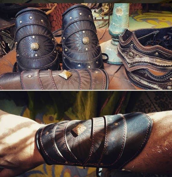 Leather, Leather Bracers, Bracers, Cuffs, Arm Cuffs, Burning Man, Warrior, Fire Dance, Adjustable Sizing, Elven, Arm Bracers, Cuff Bracelet