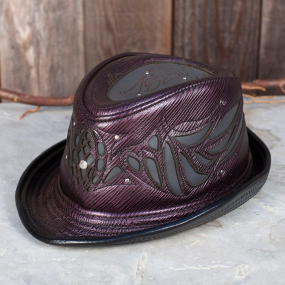 "Leather Fedora, 23.5"" head, Size L, Sassafras, Trilby, Wing Filigree, Burning Man, New Year's Hat, Steampunk, Great Gatsby, 1920's, IN STOCK"