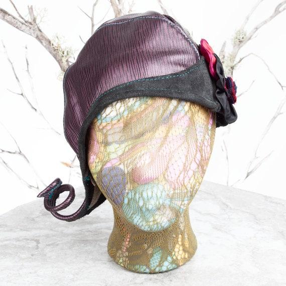 """Leather, Cloche, Leather Cloche Hat, Cloche Hat, Chapeau Cloche, 1920's Cloche Hats, Chapeau, Chapeau Femme, 21-21.5"""" , Steampunk Hat, Hat"""