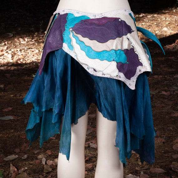 Leather Skirt | Starfire Skirt Belt | Hand Dyed Silk | Lace | Silver | Faerie | Pixie | Elven | Mermaid | Festival Belt | Steampunk | M/L