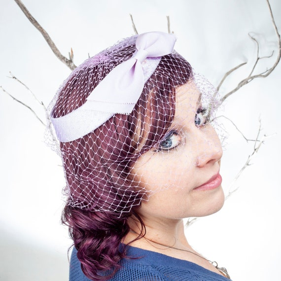 Lavender Vintage Pill Box Hat with Netting, Fascin