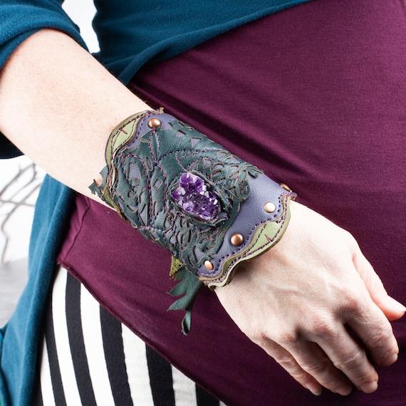 "Amethyst Bracelet, Arm Cuff, Leather Wristband, Raw Amethyst, 7"" Wrist, Laser Cut Leather Cuff, Purple Cuff, Copper, Elven Bracelet, Faerie"
