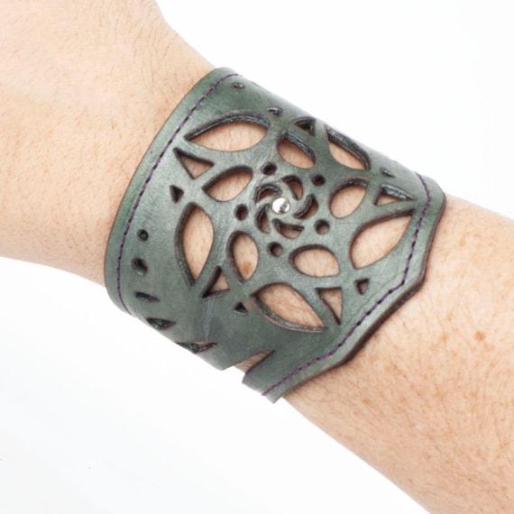 "Leather Bracelet, Arm Cuff, Leather Wristlet, Leather Wristband, Filigree Bracelet, Fits an 8"" Wrist, Unisex Bracelet, Laser Cut Cuff, Green"