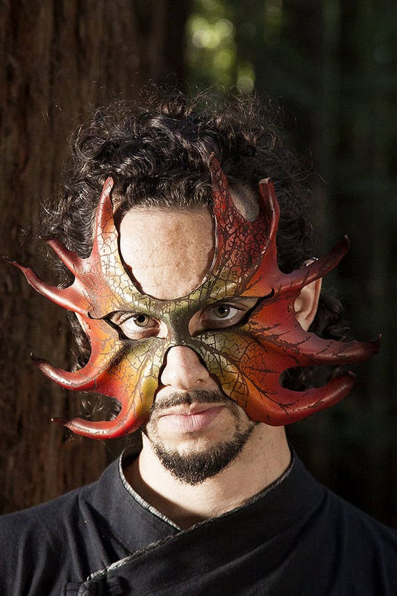 CUSTOM Made to Order |  Magical Leather Leaf Mask | Art Engraved | Green Man | Costume | Oak Man | OSFA | Elven | Tree Spirit | Masquerade