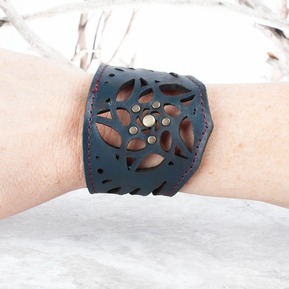 Laser cut leather cuff bracelet Dark silver filigree design