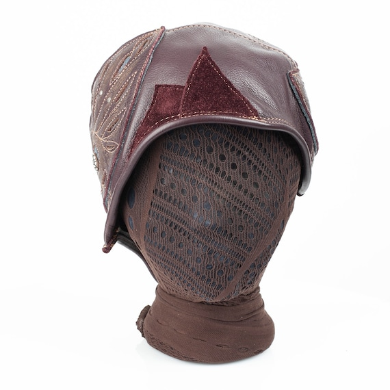 """Leather Cloche, Aviator, Bomber, 1920's Style, Aerium, 22-22.5"""" Head, M/L, Steampunk, Great Gatsby, Fly Girls, Elven, Asymmetrical, IN STOCK"""