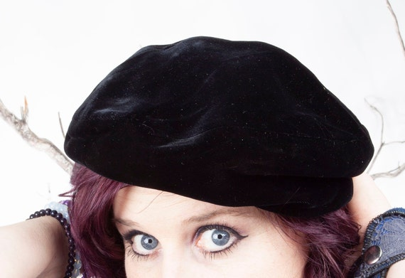 1960s Vintage Black Beret, Beatnik, Vintage Hat, 1