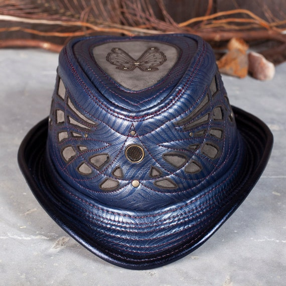 Steampunk Hat | Leather Fedora | Burning Man Costume | Steampunk Costume | Handcrafted Hat | Festival Hat | Fedora Hat | 1920's Hat