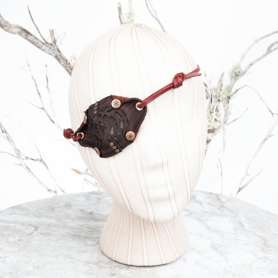 Brown Eyepatch, Leather Eye Patch, Filigree Eyepatch, U CAN SEE Whilst Wearing!, Steampunk, Wasteland Weekend, Pirate Costume, Pirate