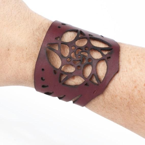 """Leather Bracelet, Arm Cuff, Leather Wristlet, Leather Wristband, Filigree Bracelet, Fits a 6 3/4"""" Wrist, Unisex Bracelet, Laser Cut Cuff"""