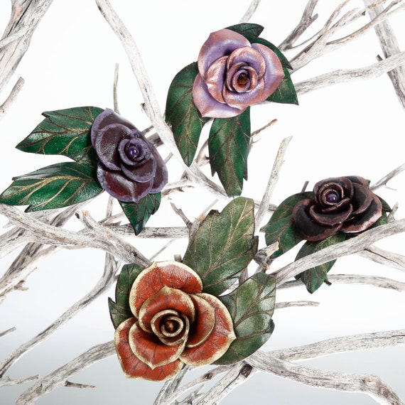 Leather Rose, Roses, Enchanted Rose, Rose Pin, Hat Pin, Leather Flower, Hatpin, Rose Brooch, Flower Pin, Leather Corsage, Flower Brooch