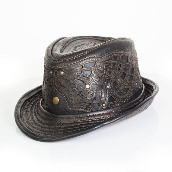 Black Leather Fedora | Sassafras Fedora | Trilby | Art Engraved | Filigree | Adjustable Brim | Burning Man | Festival Wear | CUSTOM MADE