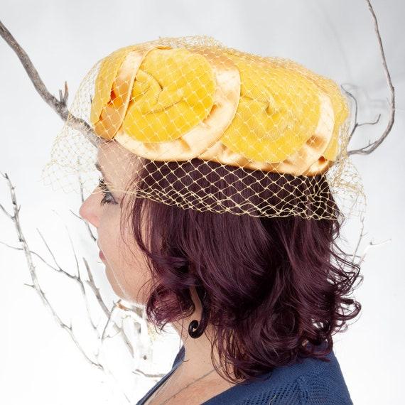 1950s, Vintage Hat, Yellow Hat, 1950s Hat, Pillbo… - image 4