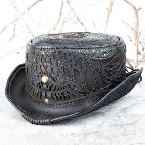 Leather Top Hat | Daunting & Dapper Short Top Hat | Black Alligator Print Leather | Silver | Adjustable Size | Burning Man | CUSTOM MADE