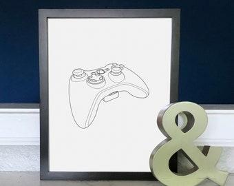 Gamer Art Print XBOX One Controller Video Game Decor | Etsy
