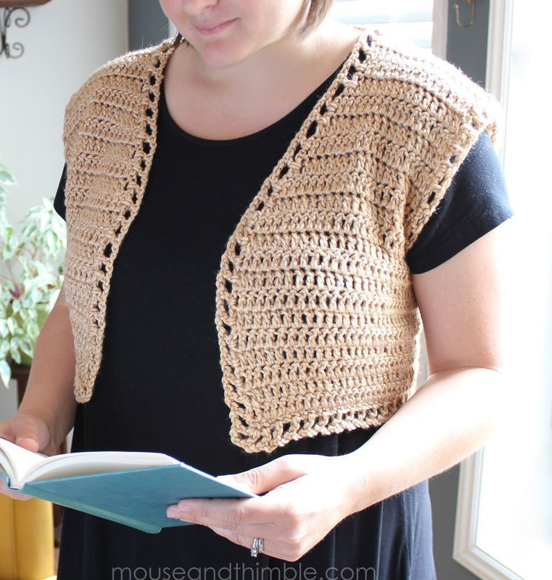 photo relating to Printable Vest Pattern identify Crochet Practice / Shrug Bolero Vest (a number of dimensions) / Uncomplicated / Printable Down load - PDF 3345