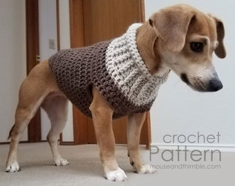 Easy Dog Sweater Crochet PATTERN, Seamless Earhart Bomber Design, Small to Medium Breeds, 5 Sizes, Instant Download, Printable PDF-1214