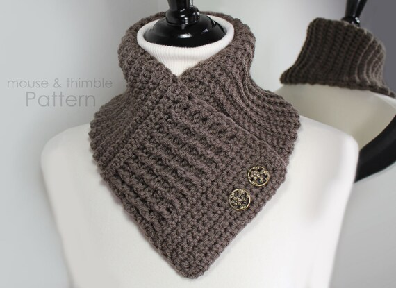 Crochet Scarf Pattern V Neck Double Button Waffle Textured Scarf Pdf 2405