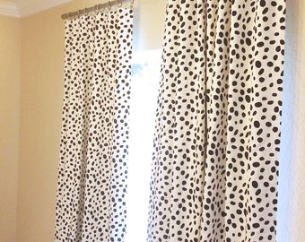 Black Dalmatian Spots Curtain Panels 25 Or 50 Inch Widths 63 84 96 108 120 Lengths Dots Window Treatments Drapery Curtains