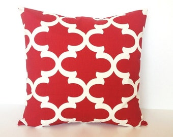 Red Moroccan Throw Pillow Cover. 18 X 18 Inch Cherry Red  and Ivory Couch Pillow. Quatrefoil Cushion Cover